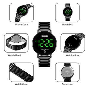 Image 4 - SKMEI relojes digitales deportivos de lujo para hombre, reloj de pulsera de acero inoxidable, pantalla de luz LED, pulsera electrónica
