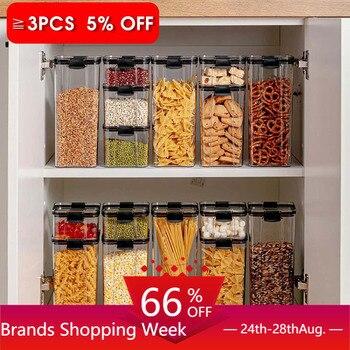 Contenedor de almacenamiento de alimentos de 700/1300/1800ML, caja de fideos de cocina de plástico para refrigerador, tanque de almacenamiento multigrano, latas selladas transparentes