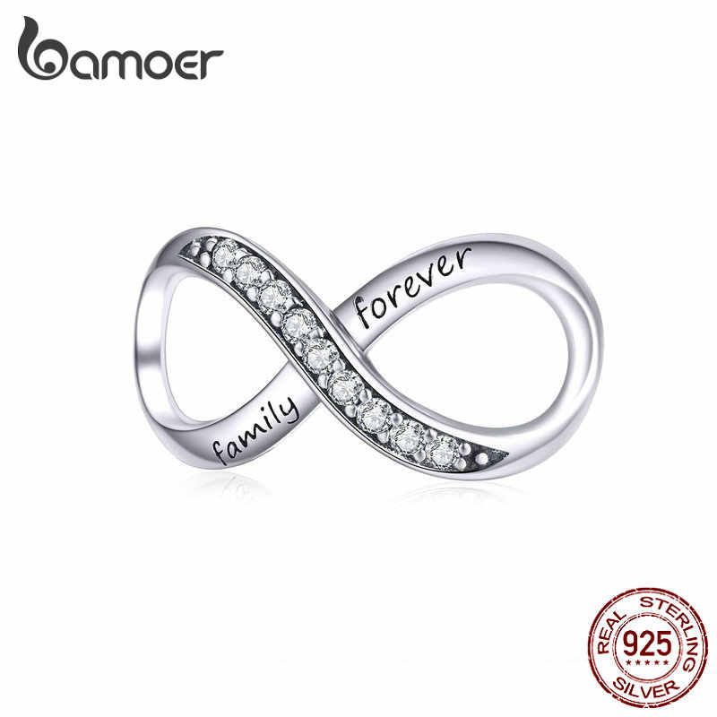 BAMOER Big Charms Real Sterling Silver 925 Infinity Family Forever Clear Crystal Charm for Original 925 Brand Bracelet SCC1146