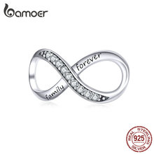 BAMOER Big Charms Real Sterling Silver 925 Infinity Family Forever Clear Crystal Charm for Original Brand Bracelet SCC1146