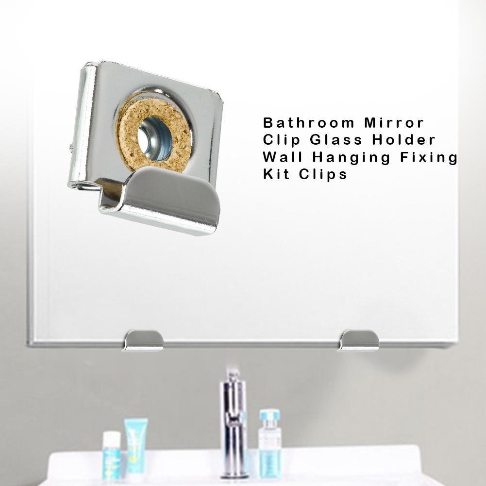 Bathroom Mirror Clip Glass Holder Wall Hanging Fixing Kit Clips