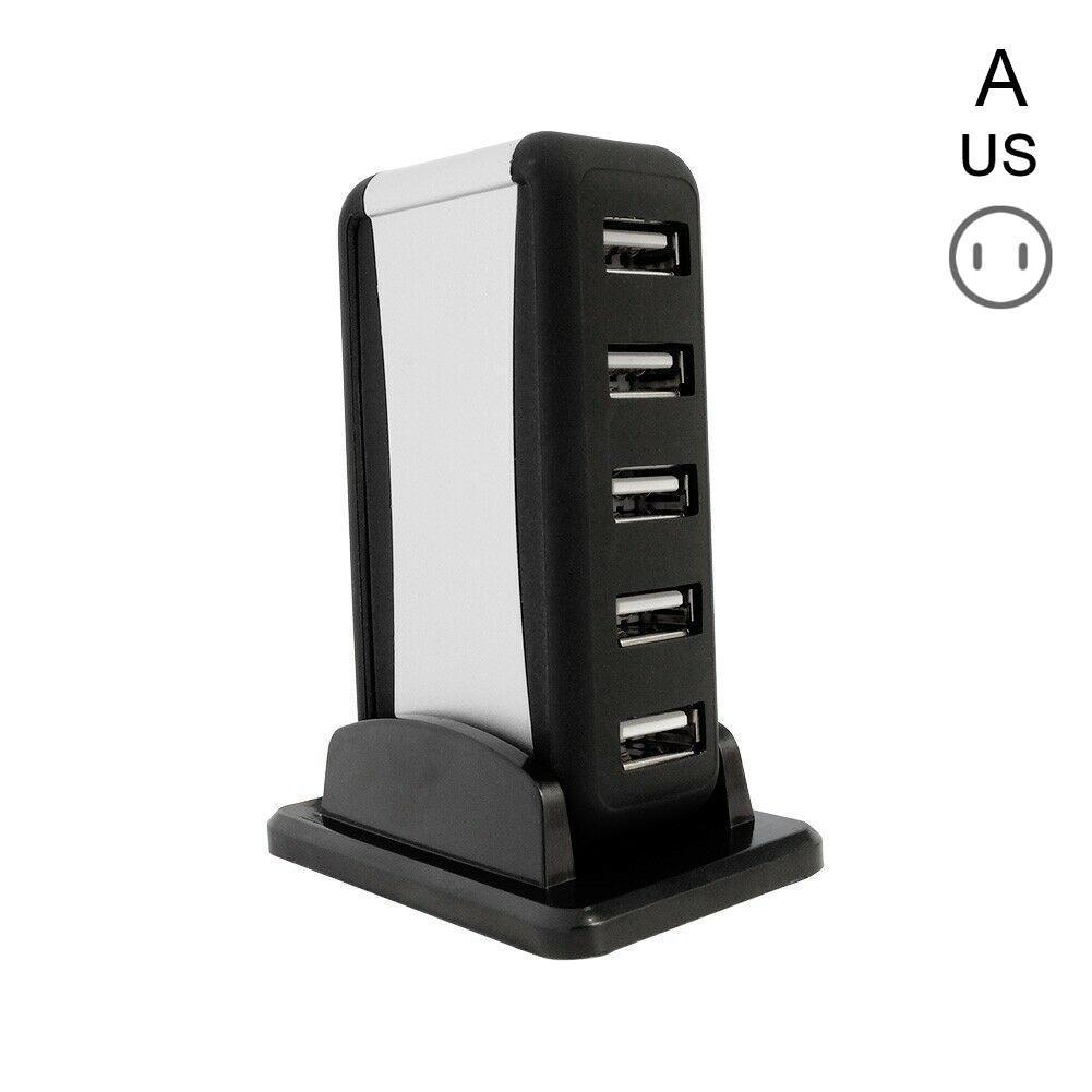 7 Port USB 2.0 High-Speed HUB Powered+AC Adapter for PC Laptop EU//US Plug