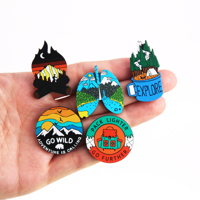 Outdoors Mountain Starry Night Acrylic Enamel Pin Custom Wild Camping Hiking Brooches Bag Clothes Lapel Pin Adventure Badge Gift 2
