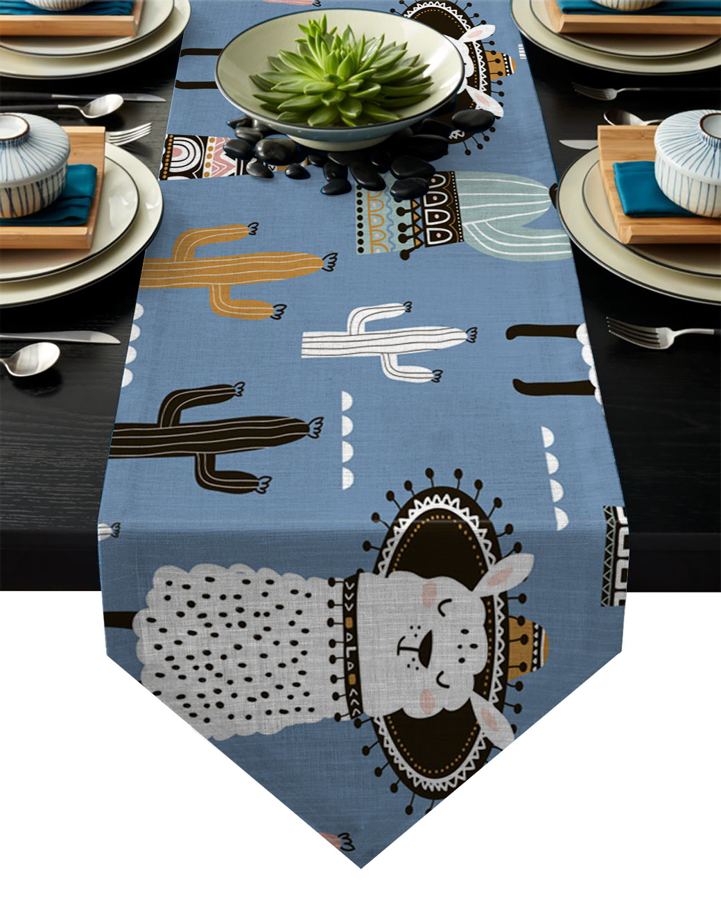 Nordic Cactus Alpaca Cartoon Table Runner Table Flag Home Party Decorative Tablecloth Table Runners|Table Runners| |  -