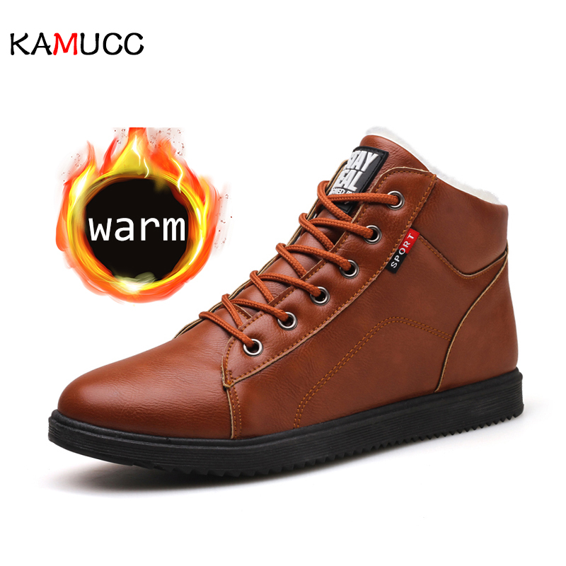 KAMUCC 2019 Autumn Winter Leather Ankle Snow Men Boots Shoes With Fur Plush Warm Male Casual Boot Sneakers Male PU Winter Boots