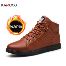 KAMUCC 2019 Autumn Winter Leather Ankle Snow Men Boots Shoes With Fur Plush Warm Male Casual Boot Sneakers Male PU Winter Boots все цены