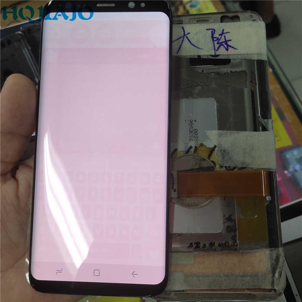 B جودة لسامسونج غالاكسي S8 G950 G950F محول الأرقام بشاشة تعمل بلمس شاشة الكريستال السائل لسامسونج G950 كبير الأحمر حرق الظل S8 G950FD LCD