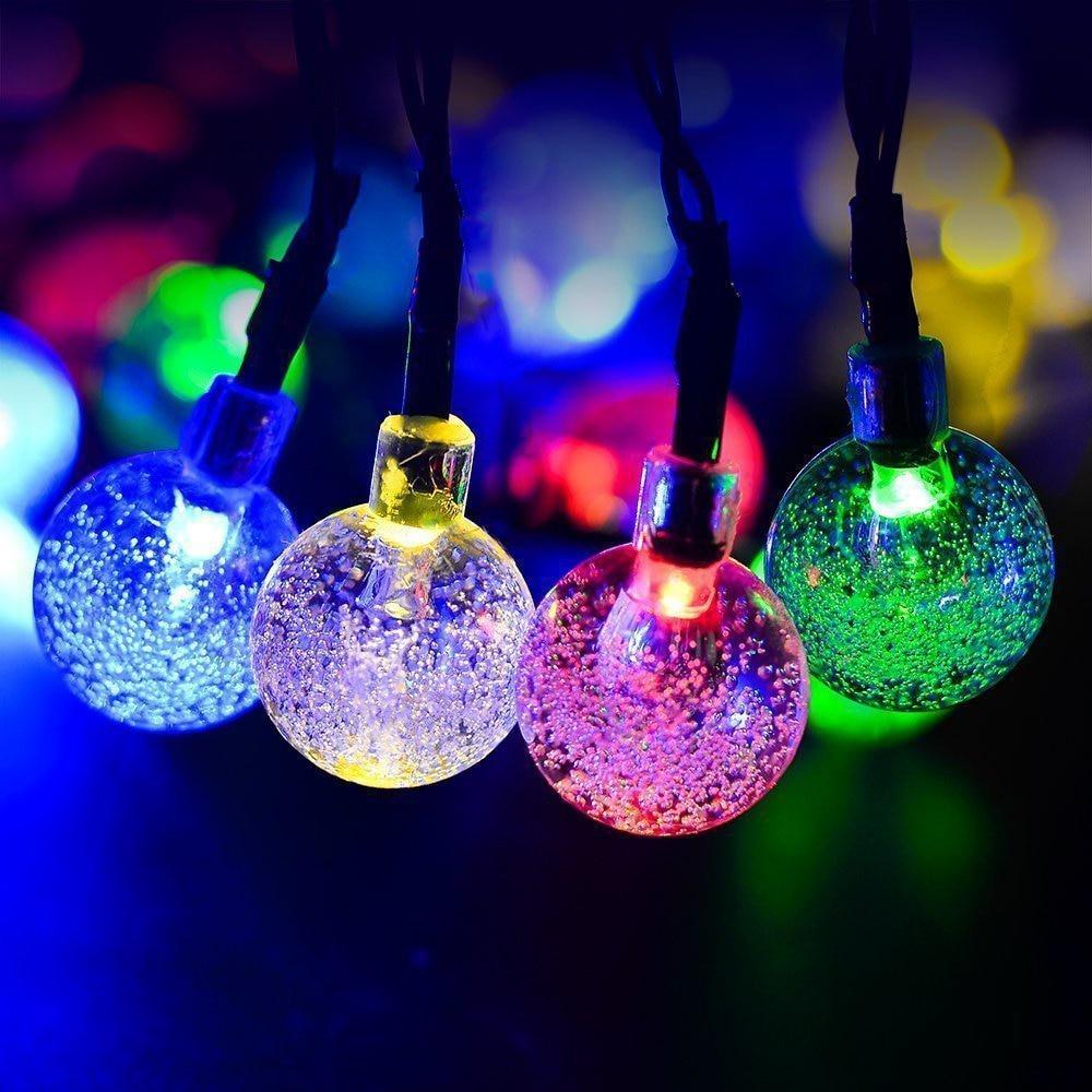 LED Solar String Light 50 LED 60 LED Crystal Ball Waterproof Solar Powered Fairy Light For Garden Home Landscape Holiday Decor