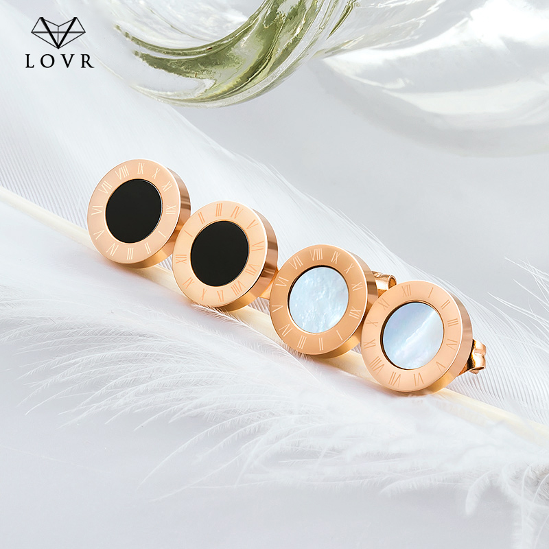 LOVR 2019 Roman Numerals Stainless Steel Rose Gold Silver Color Small Stud Earrings for Women Man Pendientes Earring Jewelry