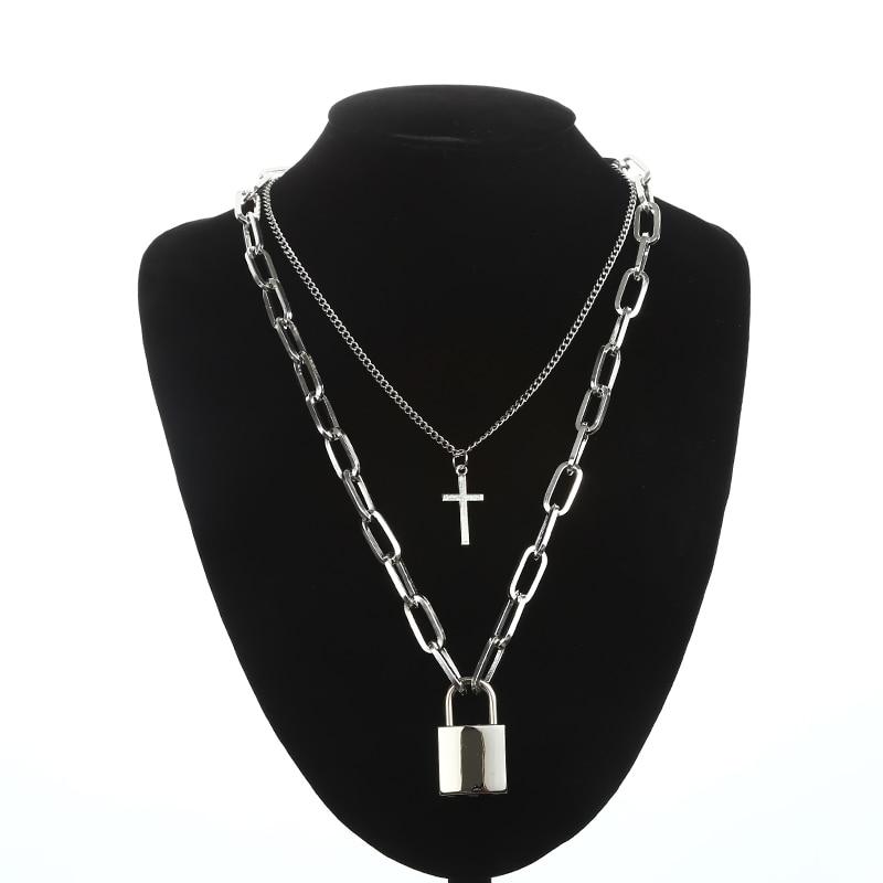 Двухслойная цепочка с замком, ожерелье в стиле панк 90 s, серебряная цепочка, цветной висячий замок, ожерелье с кулоном, женское модное готическое ювелирное изделие - Окраска металла: silver