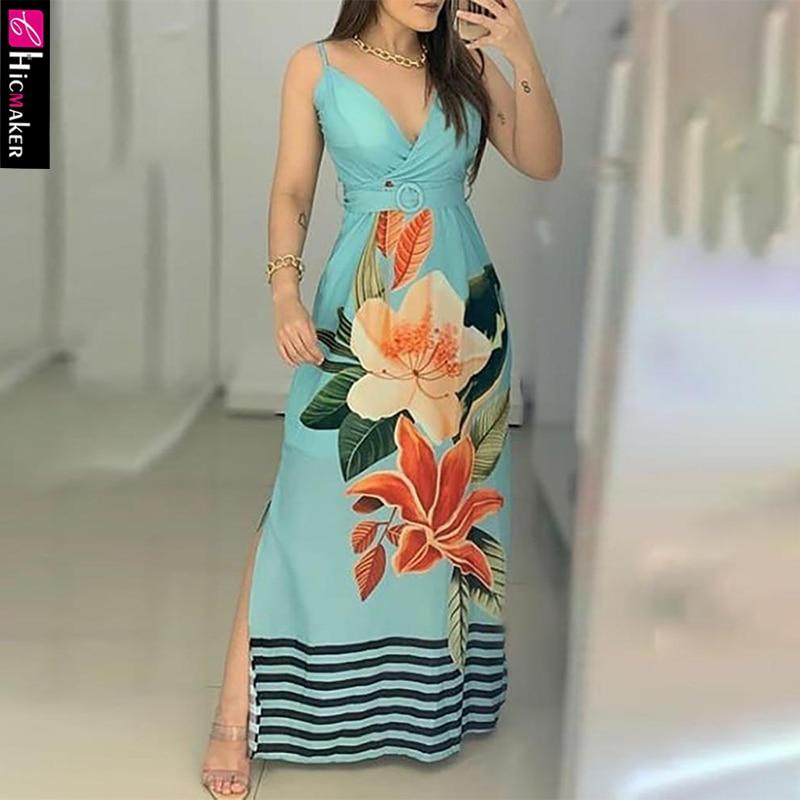 Женское платье макси в полоску с разрезом по бокам и цветочным принтом без рукавов с v образным вырезом|Платья|   | АлиЭкспресс