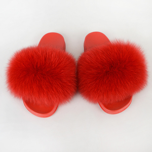 Furry Slippers House Summer Ladies Shoes Plush Luxury Fluffy Slide Sandals Women Sexy Mules Flat Real Fur Fox Flip Flop Big Size
