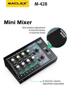 Maclex Audio-Sound-Mixer Power-Adapter-Cable Stereo 8-Channels Mono with M428 Ultra-Compact