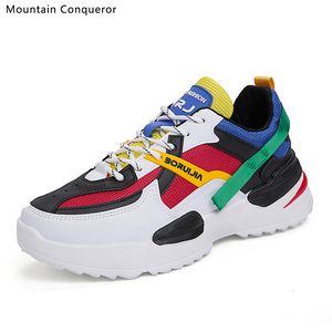 Image 1 - Mountain Conqueror 2019 Harajuku Autumn Vintage Sneakers Men Breathable Pu leather Casual Shoes Men Comfortable Fashion Sneakers
