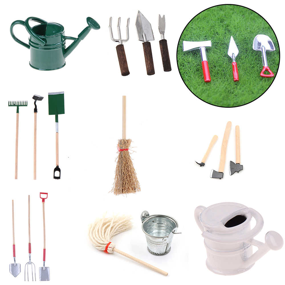 Garden Tools Tin Watering Can for 1/12 Scale Dollhouse Miniatures Garden Scenery Scene Model Kids Furniture Toys DIY Accessories
