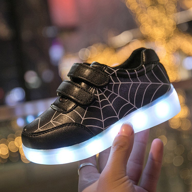 Spiderman Lighted Shoes Baby Sneakers Autumn Leather Girls Shoes Sports Toddler Boys Glowing Sneakers With Charging Waterproof