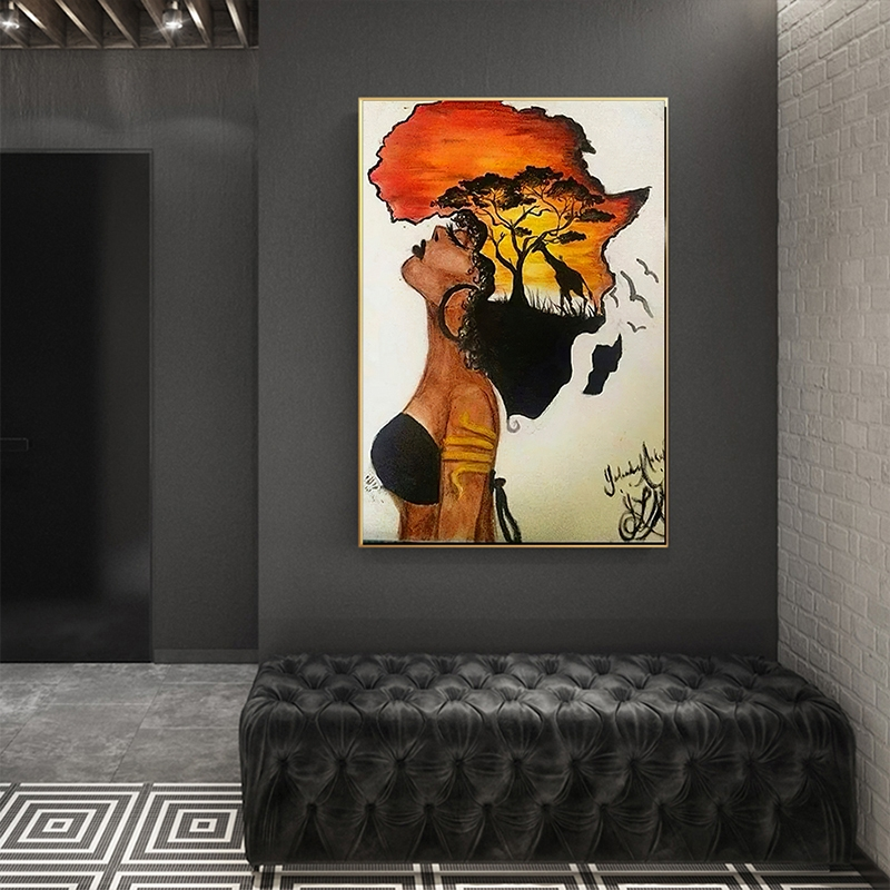 Inch 3/°Amy Leinwandbild Malerei Afrika Karte Poster Und Drucke Aquarell Karte Reise Wandkunst Leinwand Malerei Grau Schwarz Wei/ß Bild for Wohnzimmer Wohnkultur #L821 : 20x25 cm Size