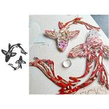 Металлические режущие формы для животных, две формы для карпа Koi, высечки для скрапбукинга, изготовление бумажных открыток, бумажные поделки, трафареты для ножей, новинка