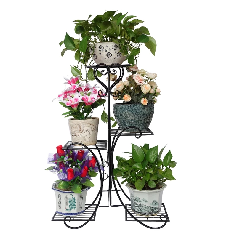 European Wrought Iron Flower Stand Indoor Multi-story Living Room Green Flower Stand Rack Floor-standing Balcony Flower Pot Shel