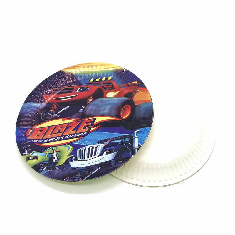 31/61Pcs Blaze En De Monster Machines Thema Feestartikelen Kids Verjaardag Blaze Papier Cups Platen Decoratie Vlaggen tafelkleed