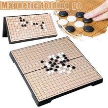 Recém-chinês velho jogo de tabuleiro checker mesa dobrável magnético ir xadrez conjunto portátil presente