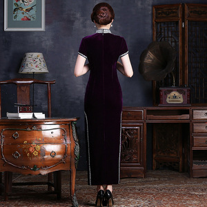 Image 5 - sequins high collar short sleeve dress hem long embroidered velvet cheongsam boutique wholesale womens clothing