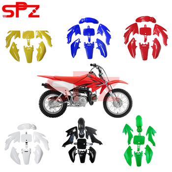 Motorctcly 7 pcs Black Plastic Fender Kit Body Work Fairing Kit Compatible For Honda CRF XR XR50 CRF50 Clone 125CC Pit Dirt Bike image