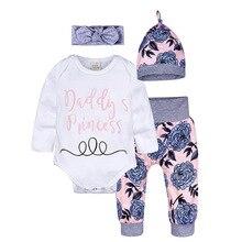 Newborn Infant Baby Girl Clothes Set Fashion Letter Printing Cotton Tops Babys Sets 4/3 PCS  Bodysuit+Pants+Hat+Headband 3-24M