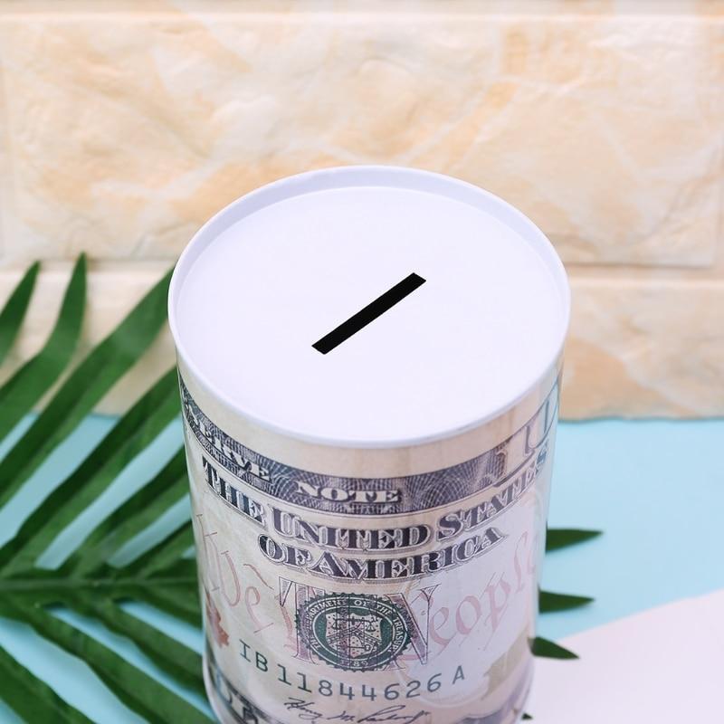 Creative Euro Dollar Metal Cylinder Piggy Bank Saving Money Box Home Decoration  W0YF