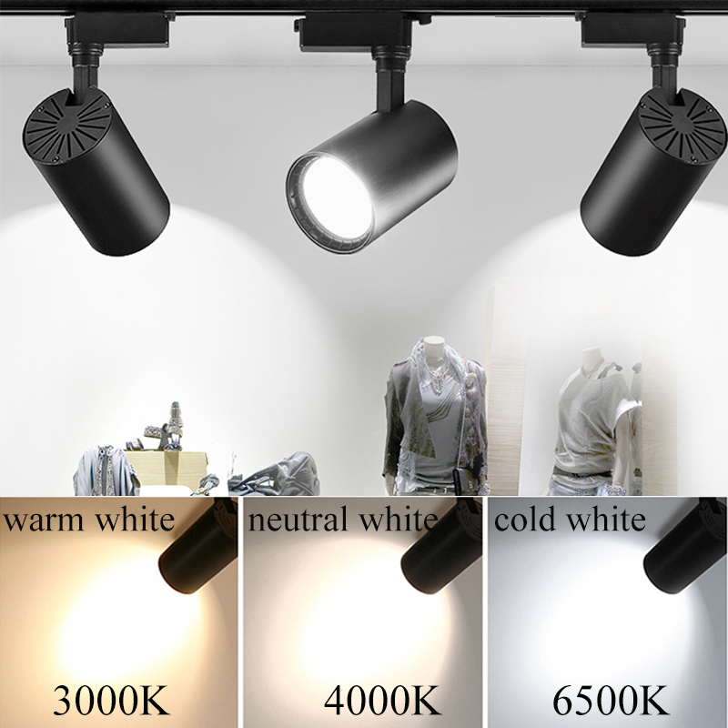 Led Track Lights 220V COB Track Lamp Lighting Fixture 12W 20W 30W 40W Spotlights Rail Ceiling Lamps for Cloth shop Home Bedroom