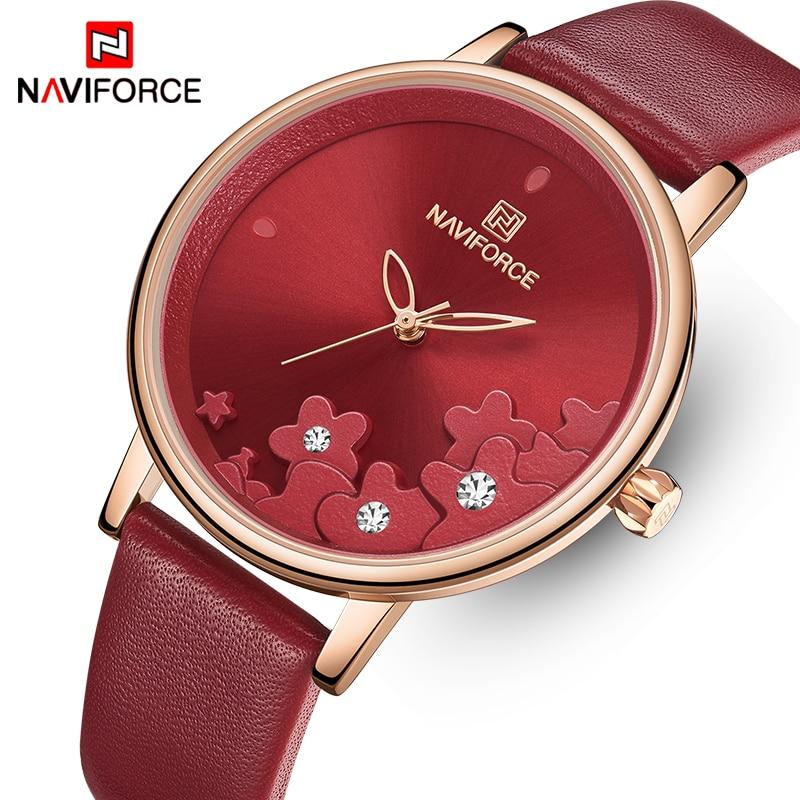 NAVIFORCE Watch For Women Waterproof Leather Watches Luxury Flower Quartz Wristwatch Female Clock Reloj Mujer Charms Ladies Gift