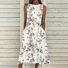 Summer Dress Pocket Women Sleeveless Vestidos Loose Floral-Print Long Vintage for O-Neck