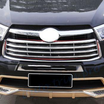 Chrome สำหรับ Toyota Highlander Kluger อุปกรณ์เสริม 2014 2015 2016 กระจังหน้าลาย Trim Molding