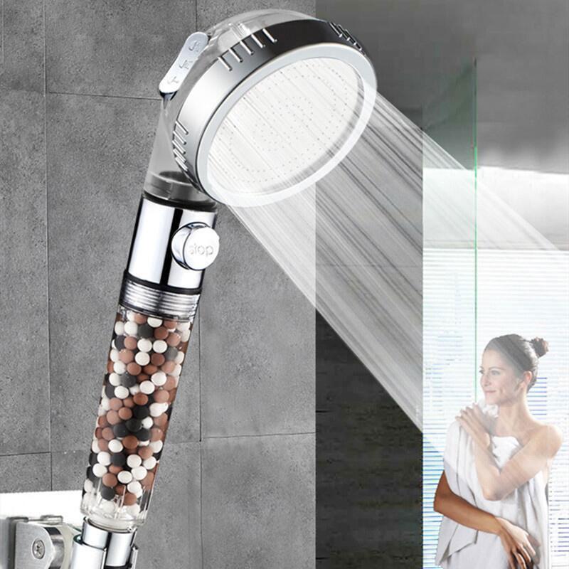 3 Modes Bath Shower Head Adjustable Jetting Shower Head Saving Water Filter Filtration Stone Stream Massage SPA Showerhead
