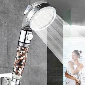 Image 1 - 3 Modes Bath Shower Head Adjustable Jetting Shower Head Saving water Filter Filtration Stone Stream Massage SPA Showerhead