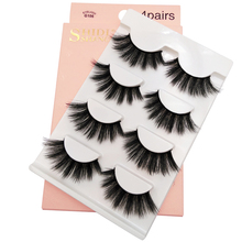 SHIDISHANGPIN 4 Pairs Mink Eyelashes 3D Lashes Fake Natural False Faux Cils G106