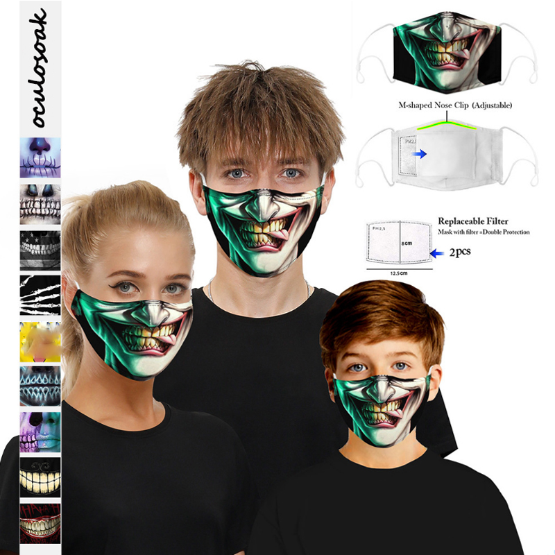 3D Clown Mouth And Face Digital Printing Dustproof Adjustable Earband 5 Layer Synthetic Filter
