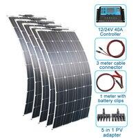 RG 5 pcs 100w Solar Panel semi flexible 500W solar system Photovoltaic monoctrystalline 12v 24V battery/yacht/RV/car/boat RV