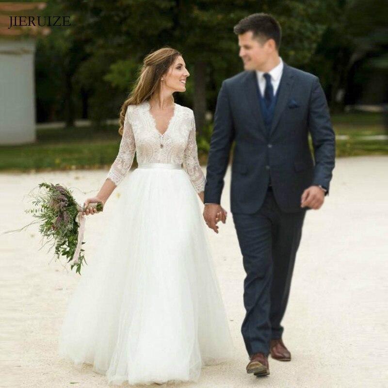 JIERUIZE White Tulle Lace Boho Wedding Dresses A-line Long Sleeves Backless Summer Bride Dresses Wedding Gowns Robe De Mariee