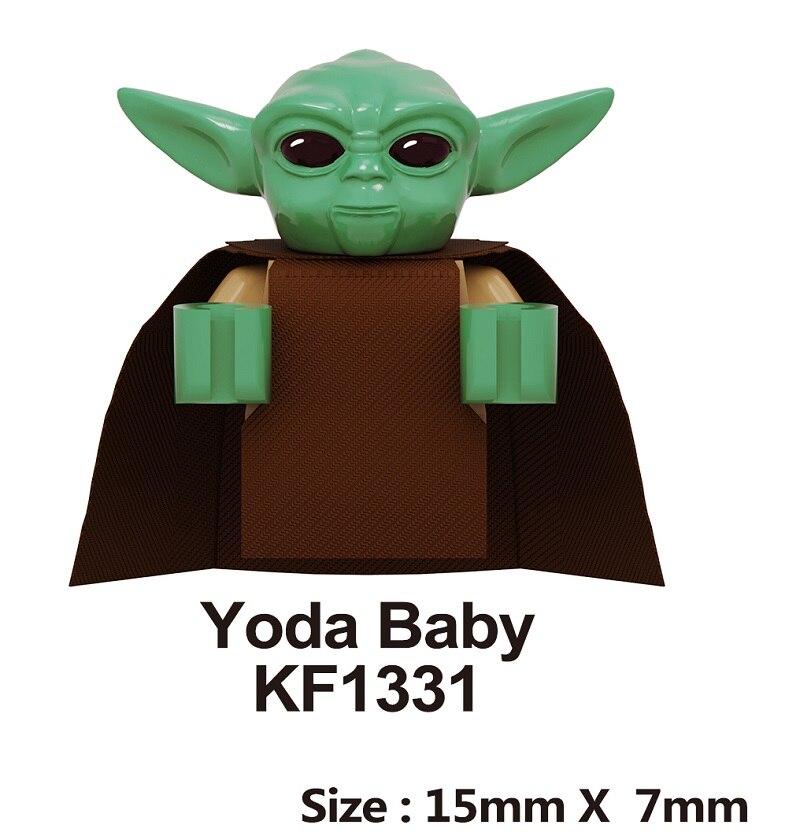Baby Yoda Building Blocks Poe Rey The Man Rhoda PoE Dameron Mandalorian Jango Fett Sith Stormer Raider Toys For Children KF1331
