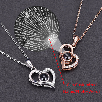 Fashion Personalized Customized Name Photo Picture Necklace 100 Languages I Love You Necklaces Pendant Women Girls Collar Gift i love mommy 2 personalized ornament