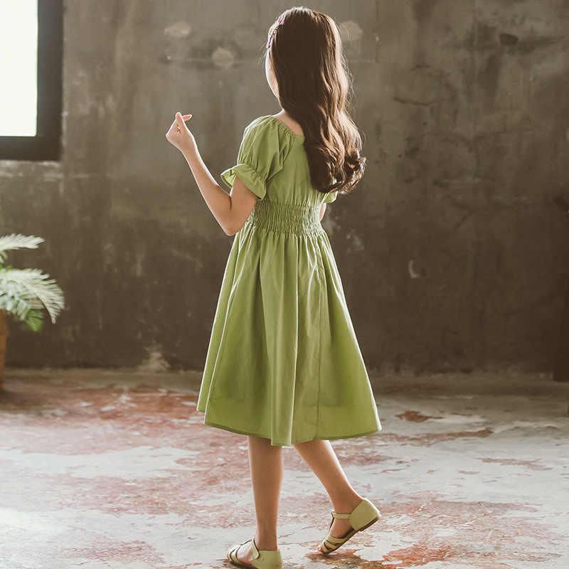 Çocuklar kızlar için elbiseler yaz yeşil bebek kız prenses elbise çocuk giysileri akşam parti genç kız elbise 4 6 8 10 12 14 yıl