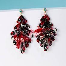 Bohemian Acetate Geometric Rhinestones Banana Leaves Earrings Multi-color Statement for Women Dangle Earring Jewelry