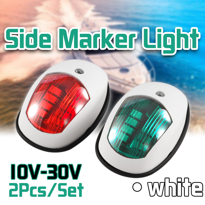 2Pcs/Set 10V-30V Universal ABS LED Navigation Light Signal Warning Lamp Signal Lamp For Marine Boat Yacht Truck Trailer Van