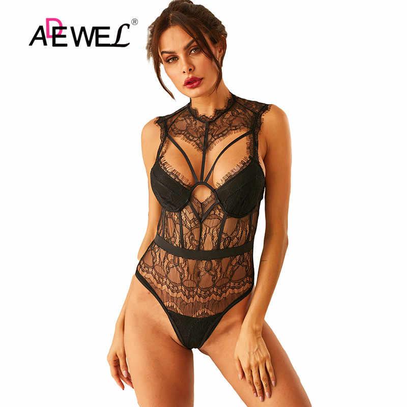 ADEWEL Weiß Body Sheer Bustier Spitze Strappy Bodys Backless Aushöhlen Sexy Frau Schwarze Ärmellose Weibliche Körper Tops