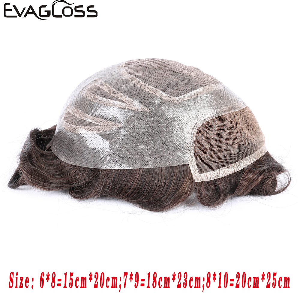 EVAGLOSS Toupee Mens French Lace Front Hair Replacement System For Men Hairpieces Mens Wigs Pure Handmade For Men's Wig