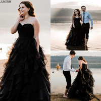 2020 Black Tiered Ruffles Bridal Gowns Plus Size Sweetheart Neck Tulle Lace up Back Ball Gown Long Gothic Wedding Dresses