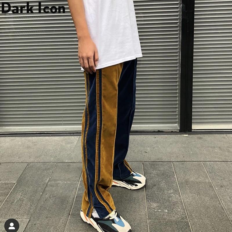 Dark Icon Velvet Wide Leg Pants Men Elastic Waist  Ankle Zipper Patchwork Men's Pants Street Pants For Man