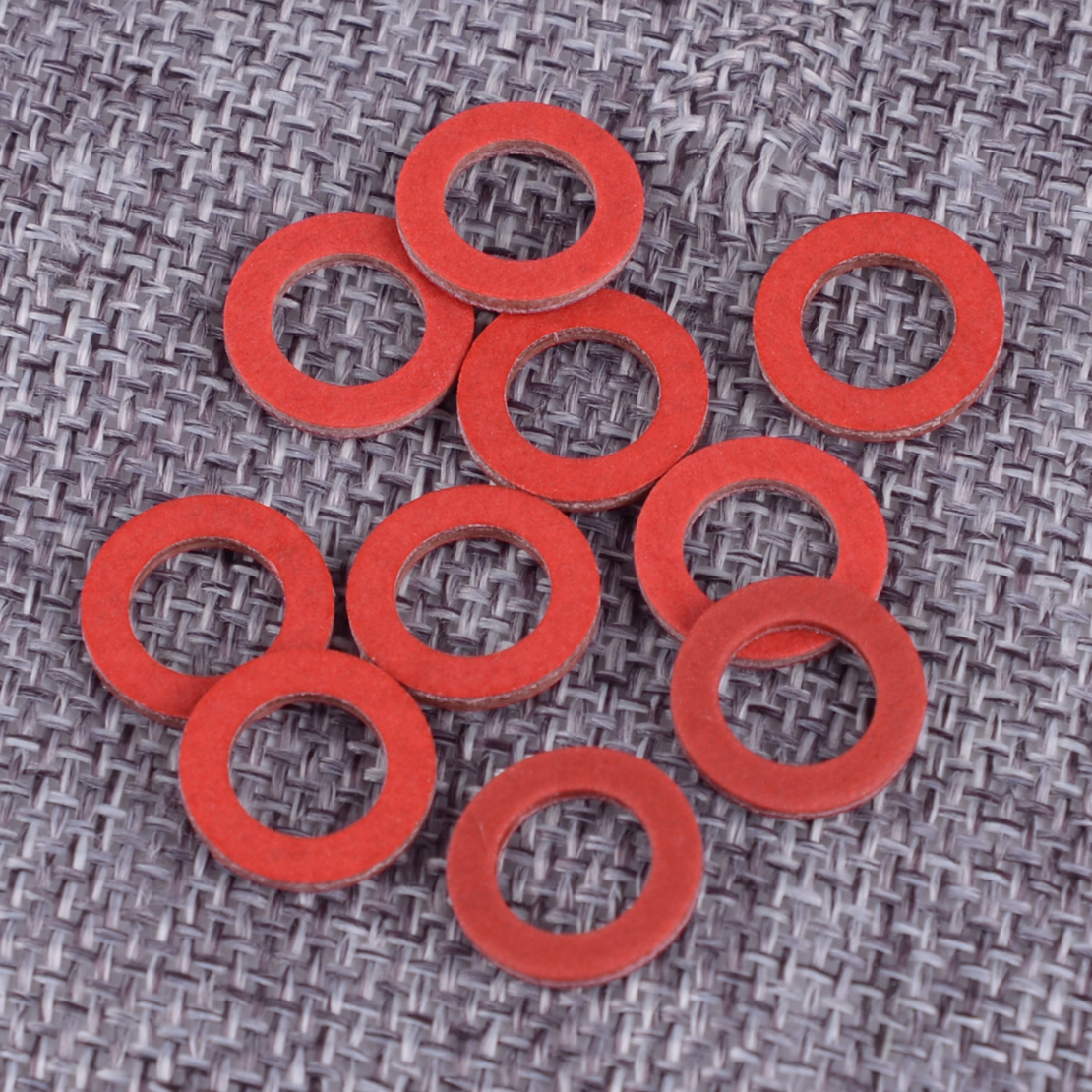 DWCX 10pcs Red Lower Unit Oil Drain Screw Gasket Fit For Yamaha 90430-08020-00 90430-08003 Accessories