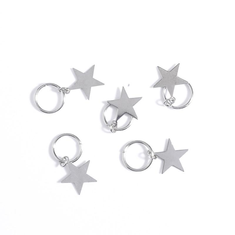 Купить с кэшбэком 5Pcs/Bag Twist Braid Hair Ornament Shell Stars Leaves Circle Hoop Personality Braid Diy Pendant Hair Accessories For Girls Women